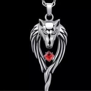 Other - Stainless Steel Wolf Necklace Red Crystal